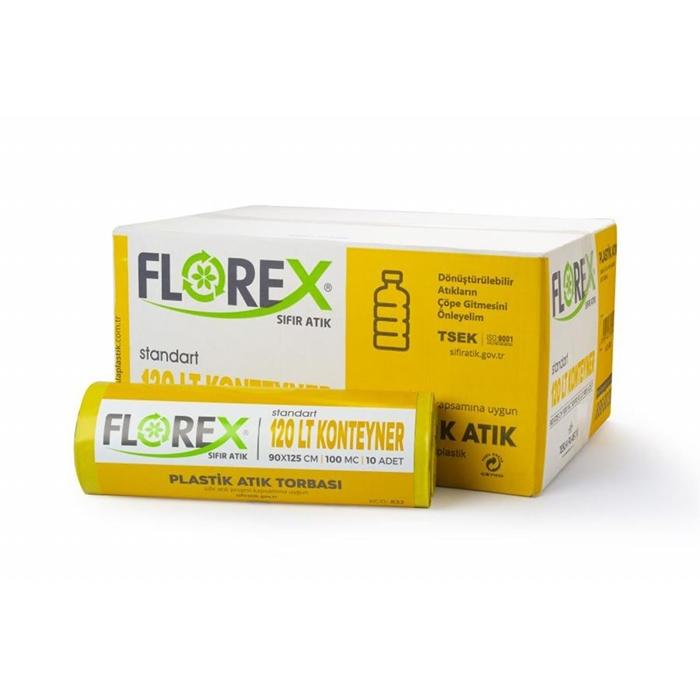 Florex Plastik Atık Torbası Standart 120lt 10Adet*10Rulo resmi