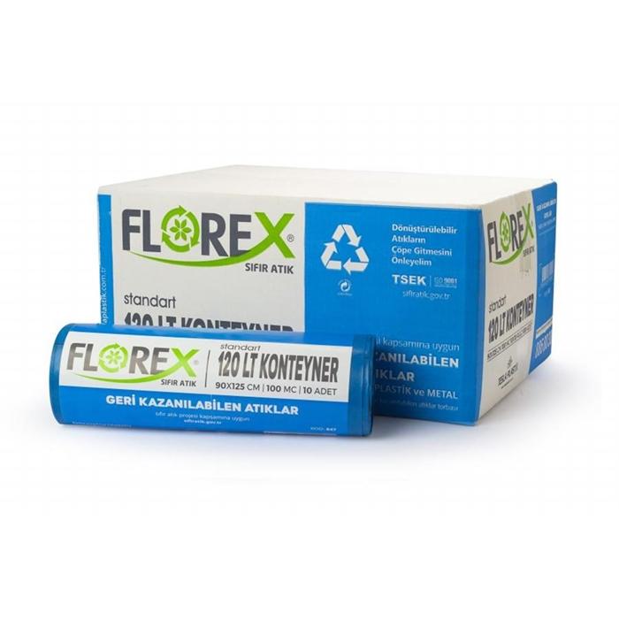 Florex Geri Kazanılabilen Atık Torbası Standart 120lt 10Adet*10Rulo resmi