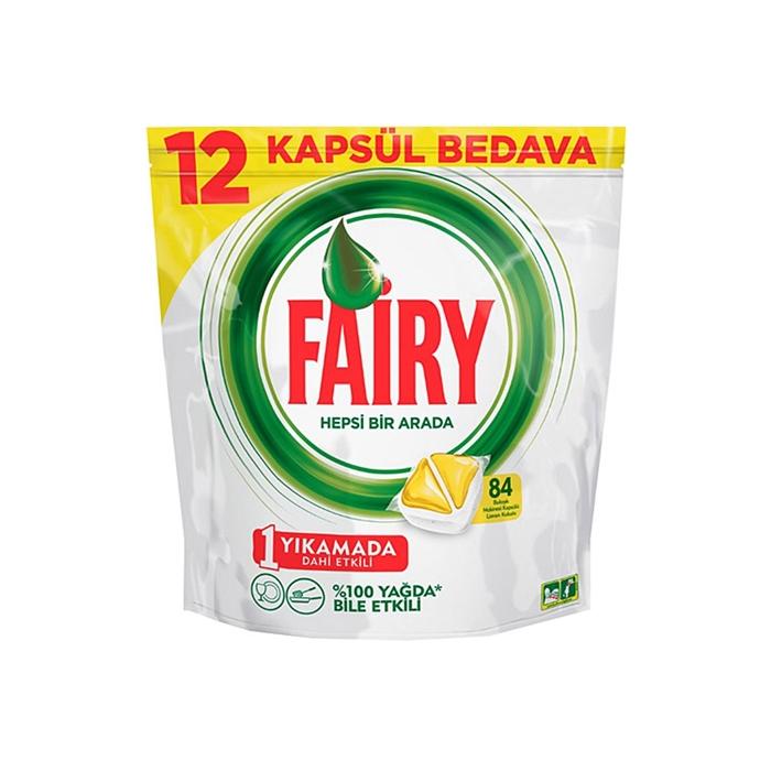 Fairy Hepsi Bir Arada Bulaşık Makinesi Deterjanı Tableti Limon Kokulu 84 Yıkama 3'lü Koli resmi