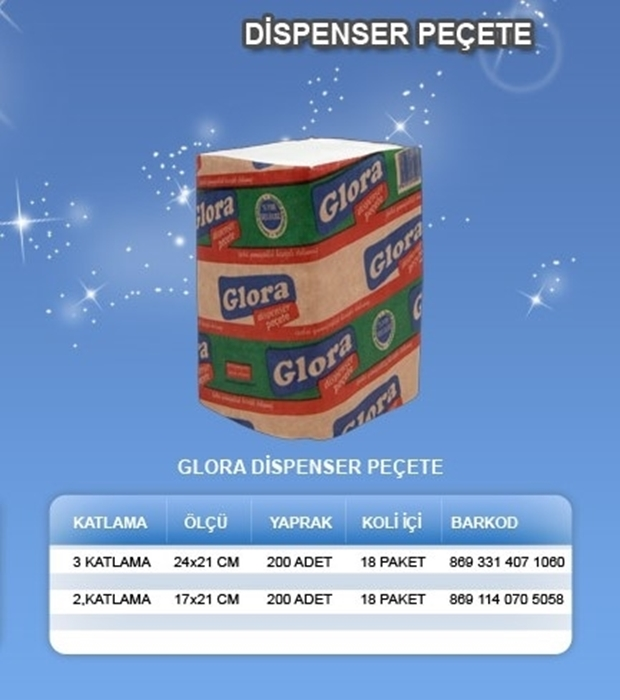 Glora Dispenser Peçete 200*18 resmi