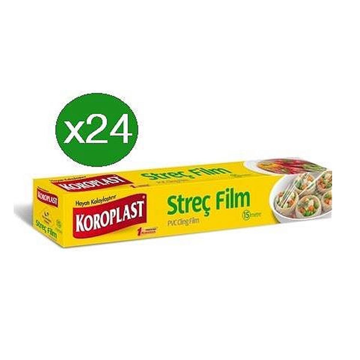Koroplast Streç Film 30cmx100 mt ( Pratik Kesme Bıçağı Hediyeli Paket )*24 Adet resmi