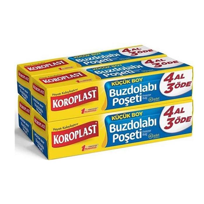 Koroplast Buzdolabı Poşeti Küçük Boy 20cm X 30cm 40'lı*4 Adet resmi